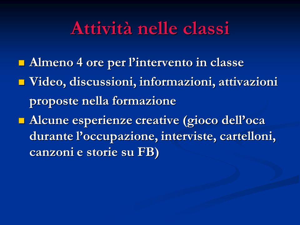 Attività nelle classi Almeno 4 ore per lintervento in classe Almeno 4 ore per lintervento in classe Video, discussioni, informazioni, attivazioni Vide