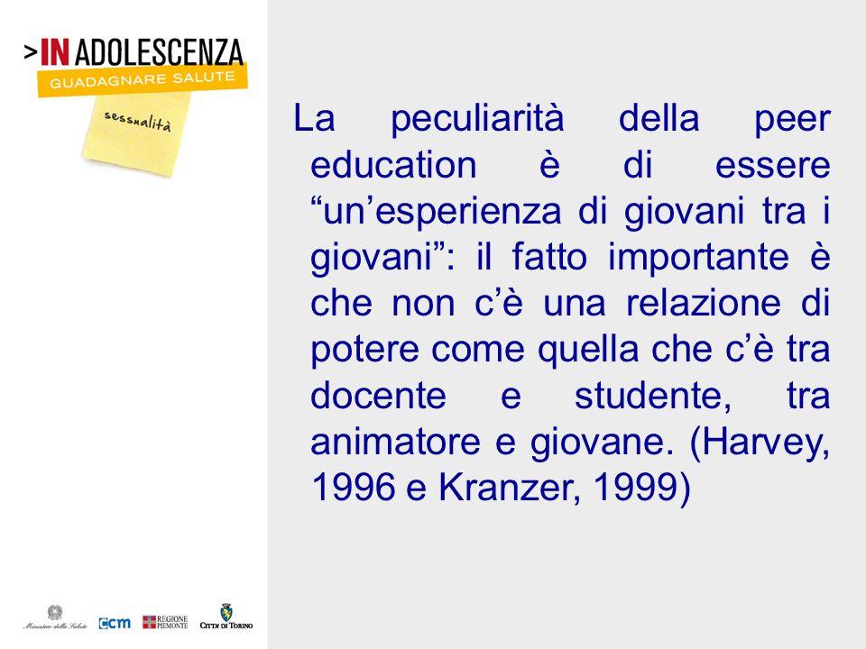 La peculiarità della peer education è di essere unesperienza di giovani tra i giovani: il fatto importante è che non cè una relazione di potere come q