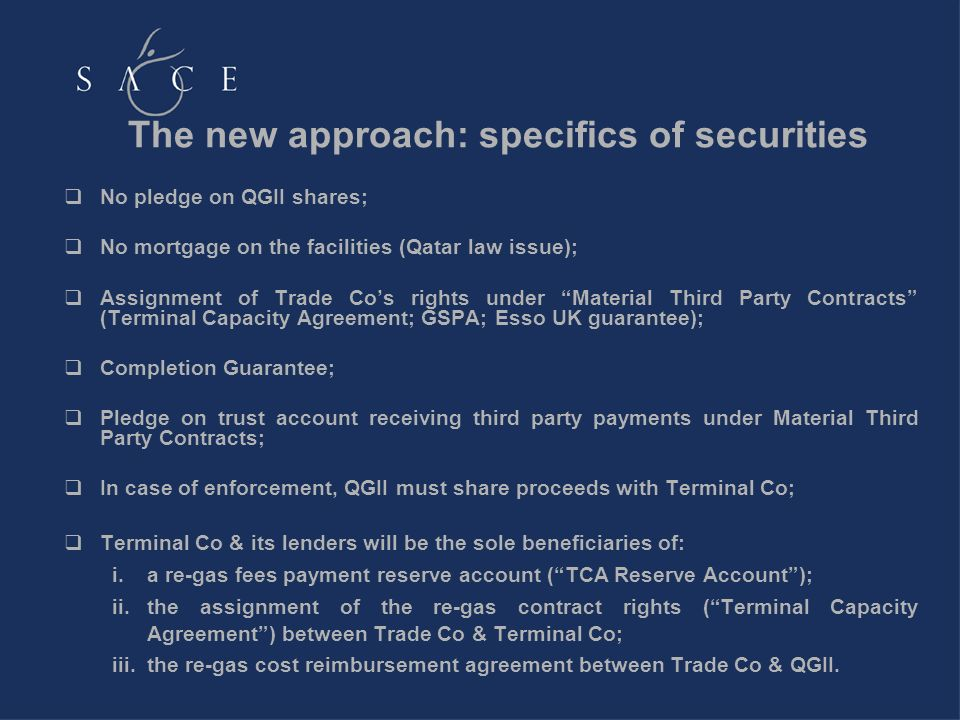 No pledge on QGII shares; No mortgage on the facilities (Qatar law issue); Assignment of Trade Cos rights under Material Third Party Contracts (Termin