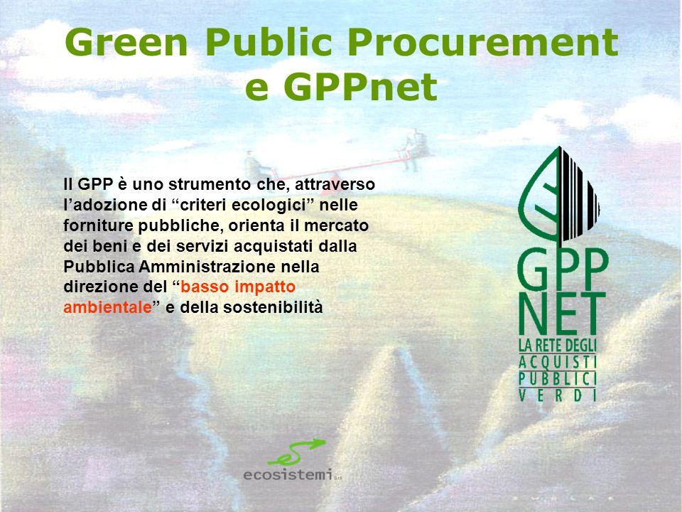 Green Public Procurement e GPPnet Il GPP è uno strumento che, attraverso ladozione di criteri ecologici nelle forniture pubbliche, orienta il mercato