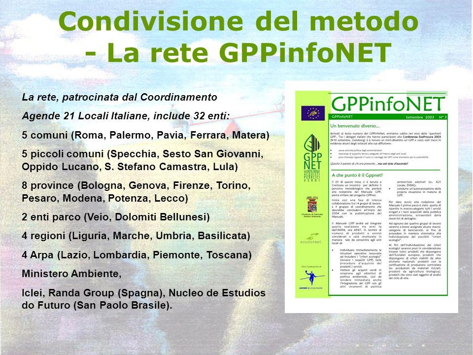 Condivisione del metodo - La rete GPPinfoNET La rete, patrocinata dal Coordinamento Agende 21 Locali Italiane, include 32 enti: 5 comuni (Roma, Palerm