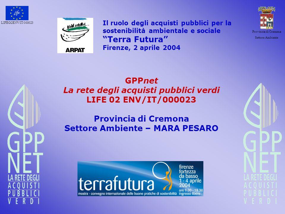 LIFEO2ENV/IT/000023 Provincia di Cremona Settore Ambiente un esempio…la Check list La check-list serve da supporto allanalisi delle attività di un Ente al fine di individuare le potenziali aree di intervento del GPP.