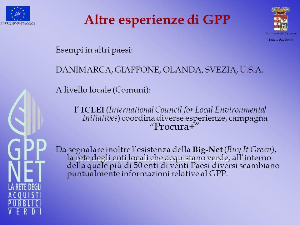 LIFEO2ENV/IT/000023 Provincia di Cremona Settore Ambiente Altre esperienze di GPP Esempi in altri paesi: DANIMARCA, GIAPPONE, OLANDA, SVEZIA, U.S.A. A