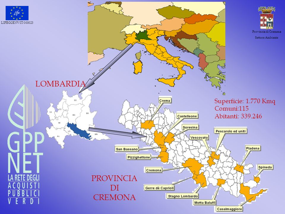 LIFEO2ENV/IT/000023 Provincia di Cremona Settore Ambiente Superficie: 1.770 Kmq Comuni:115 Abitanti: 339.246 LOMBARDIA PROVINCIA DI CREMONA