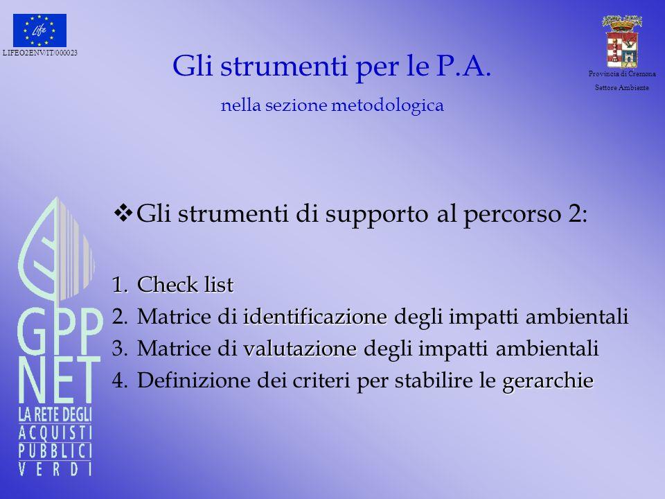 LIFEO2ENV/IT/000023 Provincia di Cremona Settore Ambiente Gli strumenti per le P.A. nella sezione metodologica Gli strumenti di supporto al percorso 2