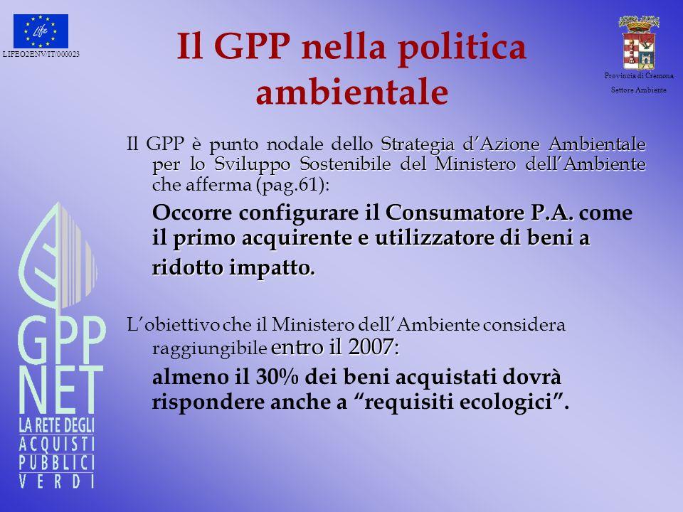 LIFEO2ENV/IT/000023 Provincia di Cremona Settore Ambiente Il ruolo della P.A.