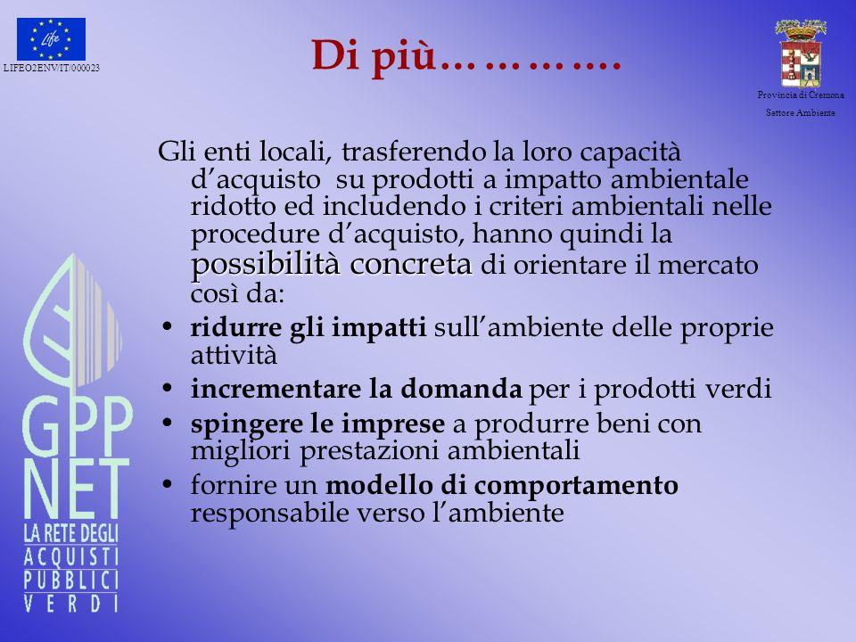LIFEO2ENV/IT/000023 Provincia di Cremona Settore Ambiente Di più…………. possibilità concreta Gli enti locali, trasferendo la loro capacità dacquisto su