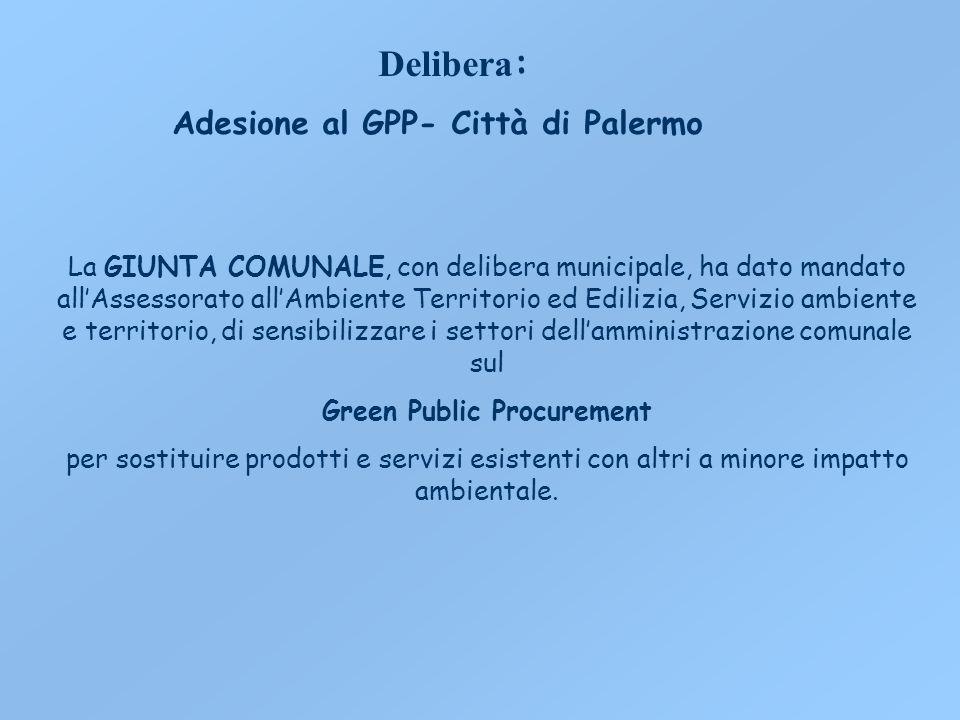 Delibera : Adesione al GPP- Città di Palermo La GIUNTA COMUNALE, con delibera municipale, ha dato mandato allAssessorato allAmbiente Territorio ed Edi