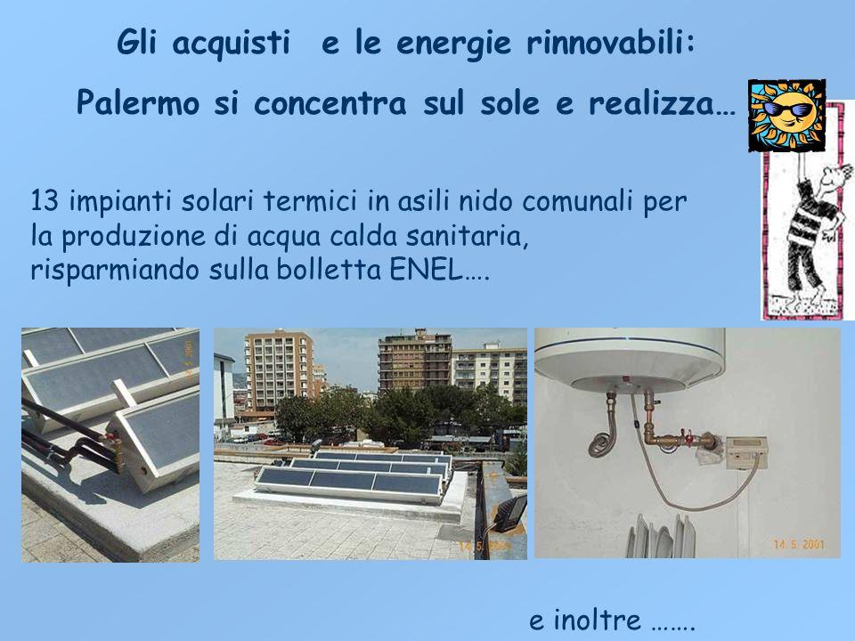Gli acquisti e le energie rinnovabili: Palermo si concentra sul sole e realizza… 13 impianti solari termici in asili nido comunali per la produzione di acqua calda sanitaria, risparmiando sulla bolletta ENEL….
