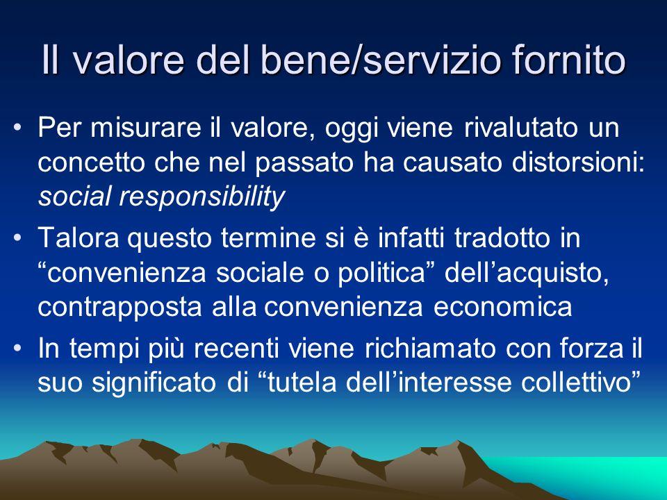 Il valore del bene/servizio fornito Per misurare il valore, oggi viene rivalutato un concetto che nel passato ha causato distorsioni: social responsib
