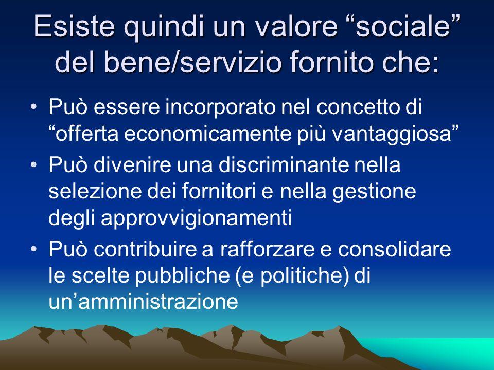 Esiste quindi un valore sociale del bene/servizio fornito che: Può essere incorporato nel concetto di offerta economicamente più vantaggiosa Può diven