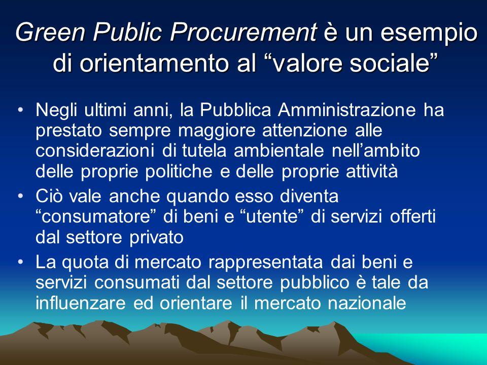 Green Public Procurement è un esempio di orientamento al valore sociale Negli ultimi anni, la Pubblica Amministrazione ha prestato sempre maggiore att