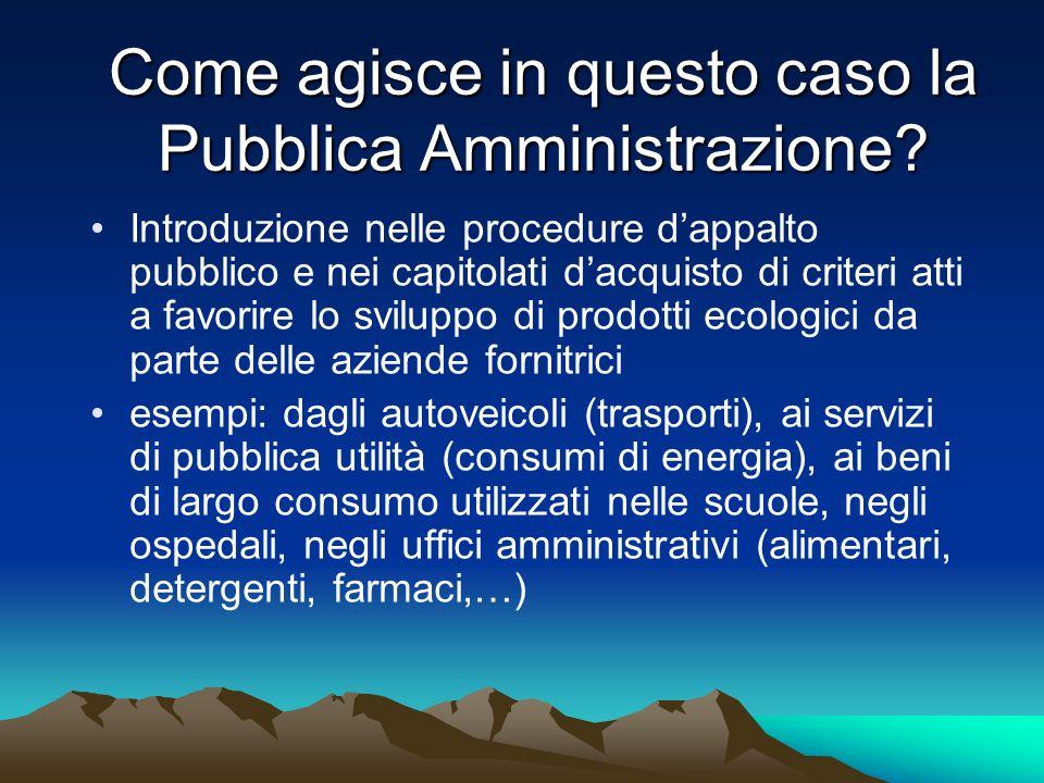 Come agisce in questo caso la Pubblica Amministrazione? Introduzione nelle procedure dappalto pubblico e nei capitolati dacquisto di criteri atti a fa