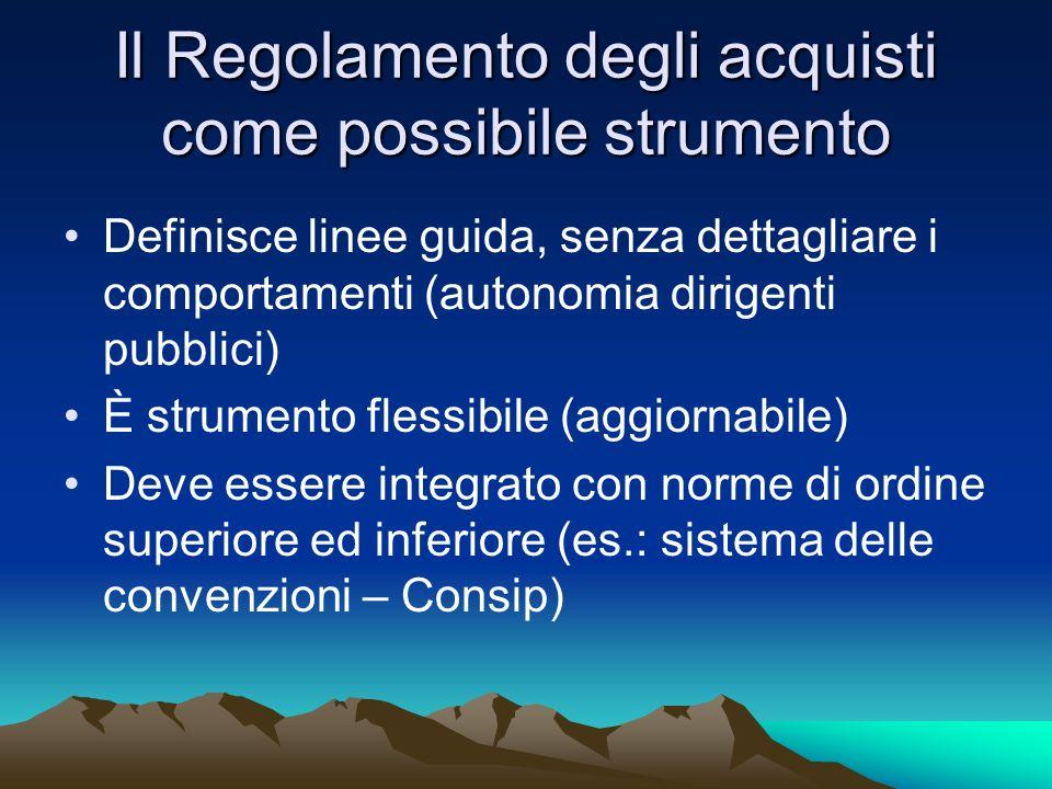 Il Regolamento degli acquisti come possibile strumento Definisce linee guida, senza dettagliare i comportamenti (autonomia dirigenti pubblici) È strum