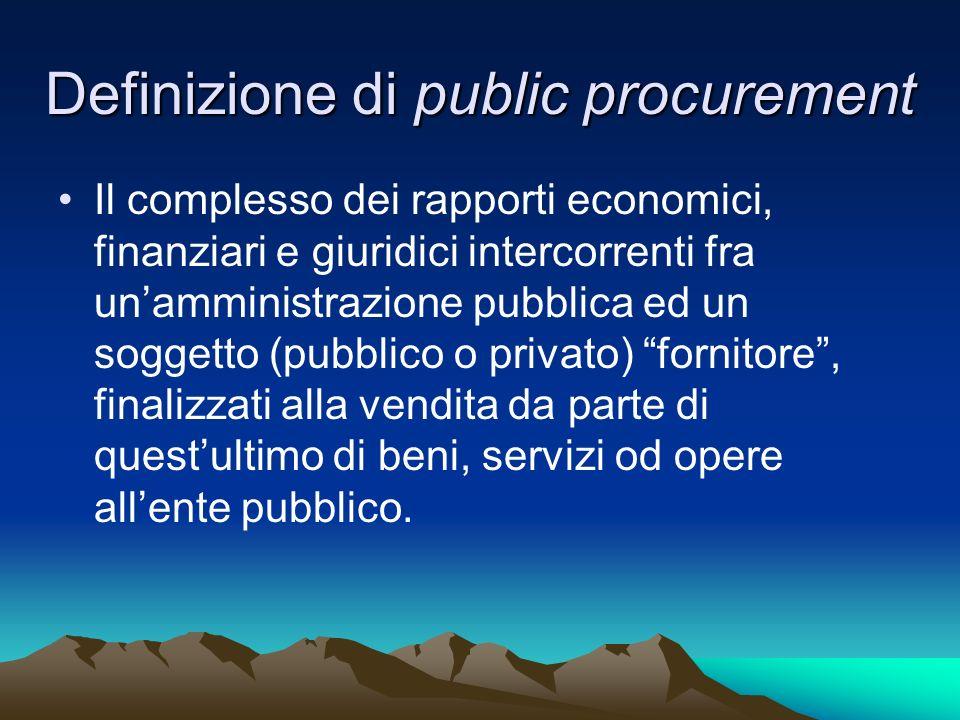 Definizione di public procurement Il complesso dei rapporti economici, finanziari e giuridici intercorrenti fra unamministrazione pubblica ed un sogge