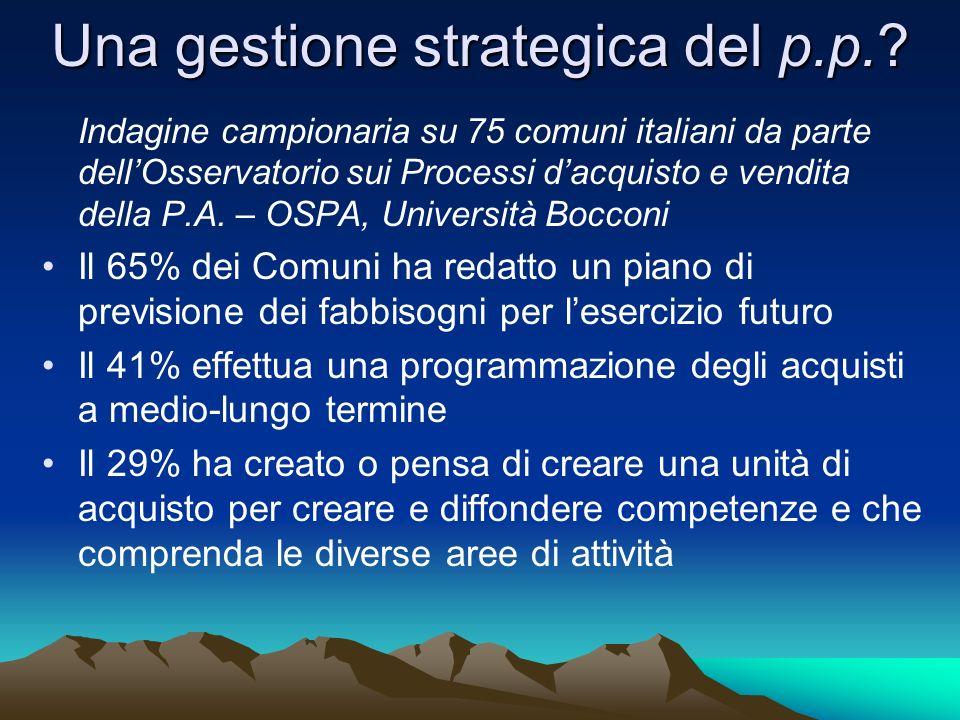 Una gestione strategica del p.p.? Indagine campionaria su 75 comuni italiani da parte dellOsservatorio sui Processi dacquisto e vendita della P.A. – O