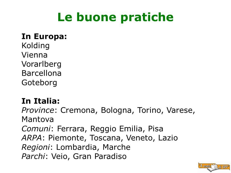 Le buone pratiche In Europa: Kolding Vienna Vorarlberg Barcellona Goteborg In Italia: Province: Cremona, Bologna, Torino, Varese, Mantova Comuni: Ferr