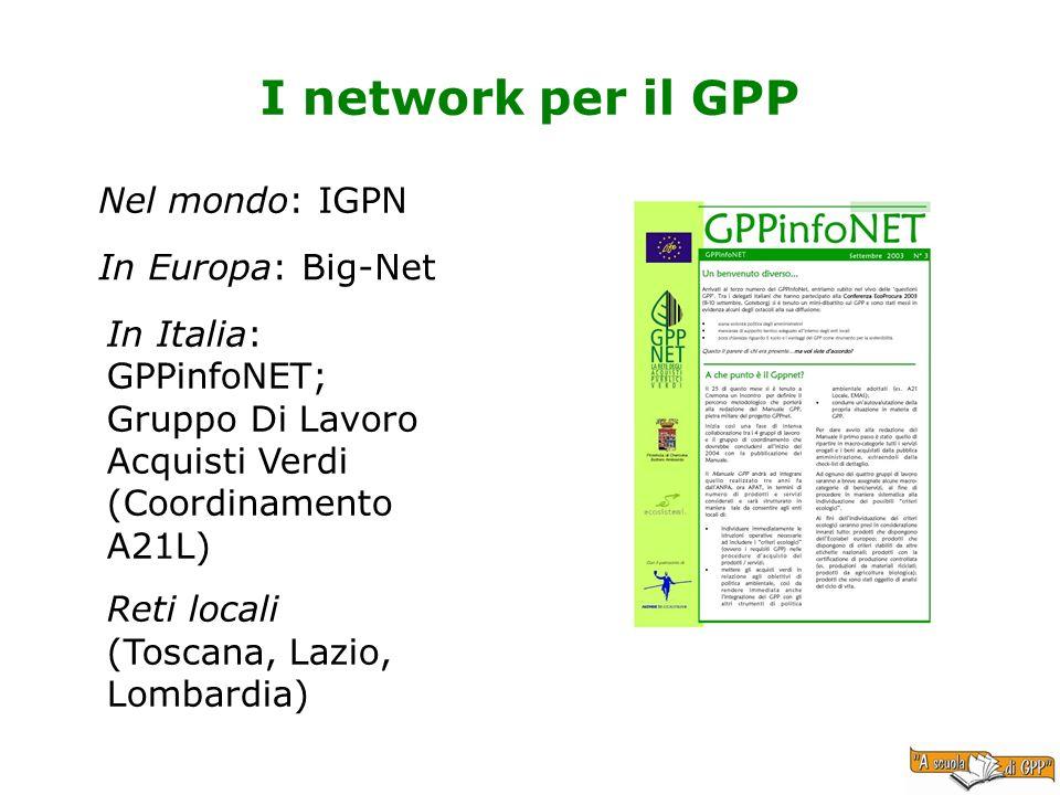 I network per il GPP In Europa: Big-Net In Italia: GPPinfoNET; Gruppo Di Lavoro Acquisti Verdi (Coordinamento A21L) Reti locali (Toscana, Lazio, Lomba