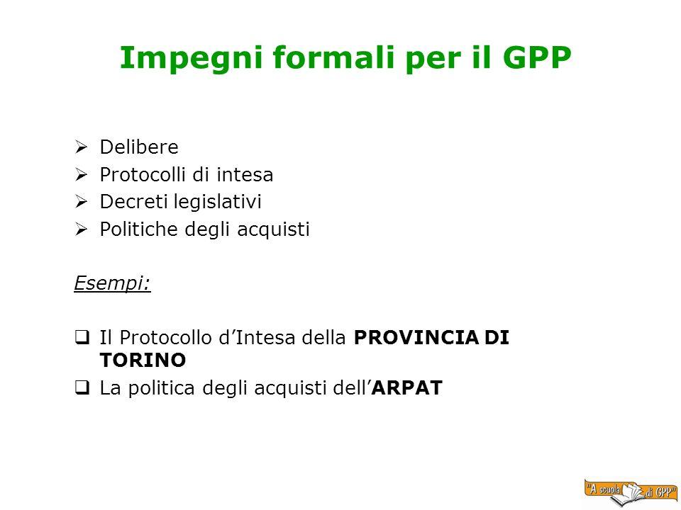 Impegni formali per il GPP Delibere Protocolli di intesa Decreti legislativi Politiche degli acquisti Esempi: Il Protocollo dIntesa della PROVINCIA DI