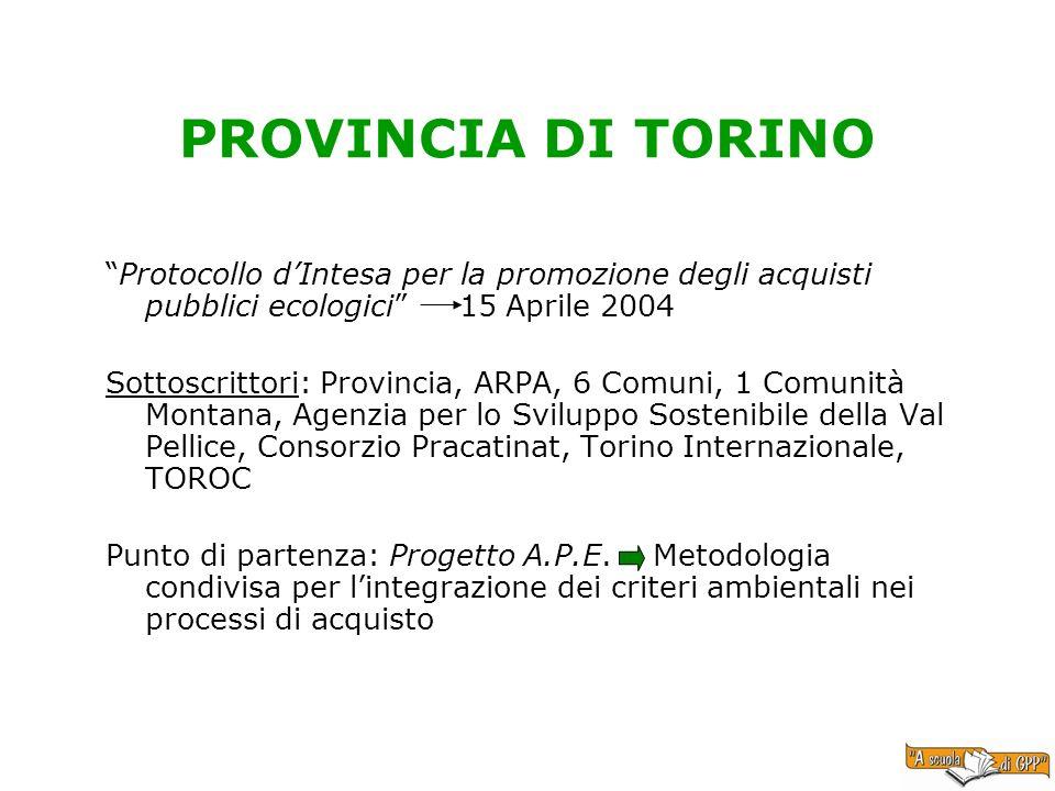 PROVINCIA DI TORINO Protocollo dIntesa per la promozione degli acquisti pubblici ecologici 15 Aprile 2004 Sottoscrittori: Provincia, ARPA, 6 Comuni, 1