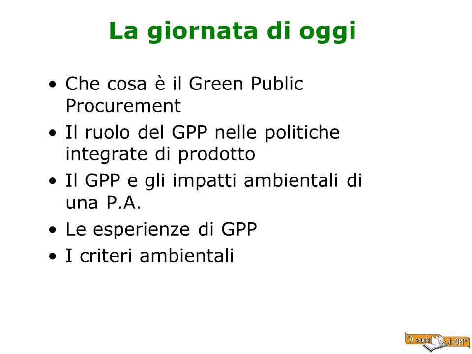 La giornata di oggi Che cosa è il Green Public Procurement Il ruolo del GPP nelle politiche integrate di prodotto Il GPP e gli impatti ambientali di u