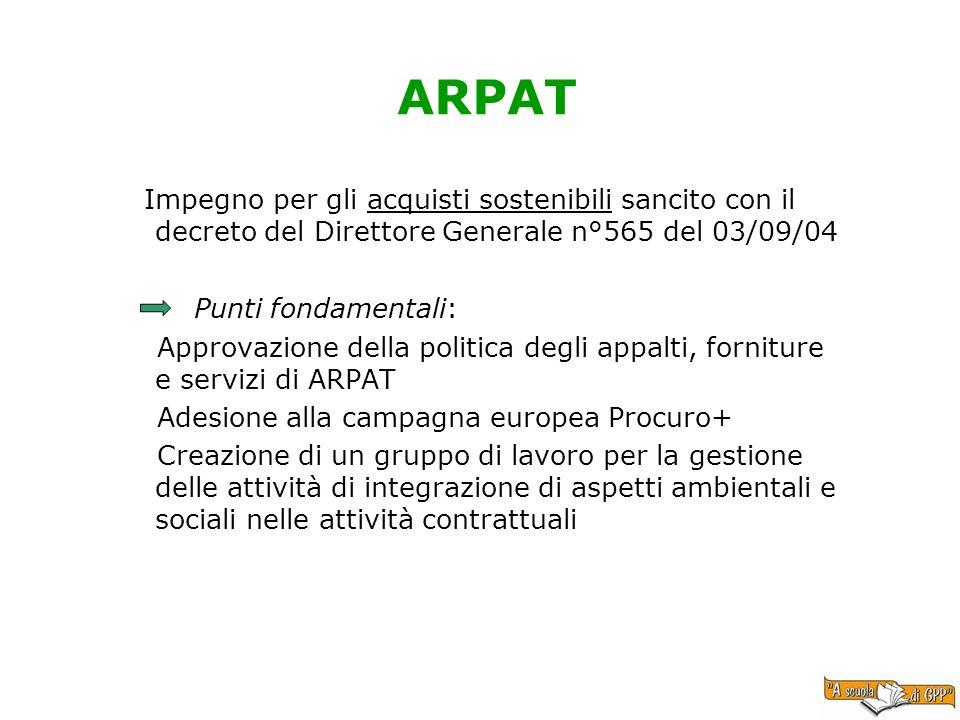 ARPAT Impegno per gli acquisti sostenibili sancito con il decreto del Direttore Generale n°565 del 03/09/04 Punti fondamentali: Approvazione della pol