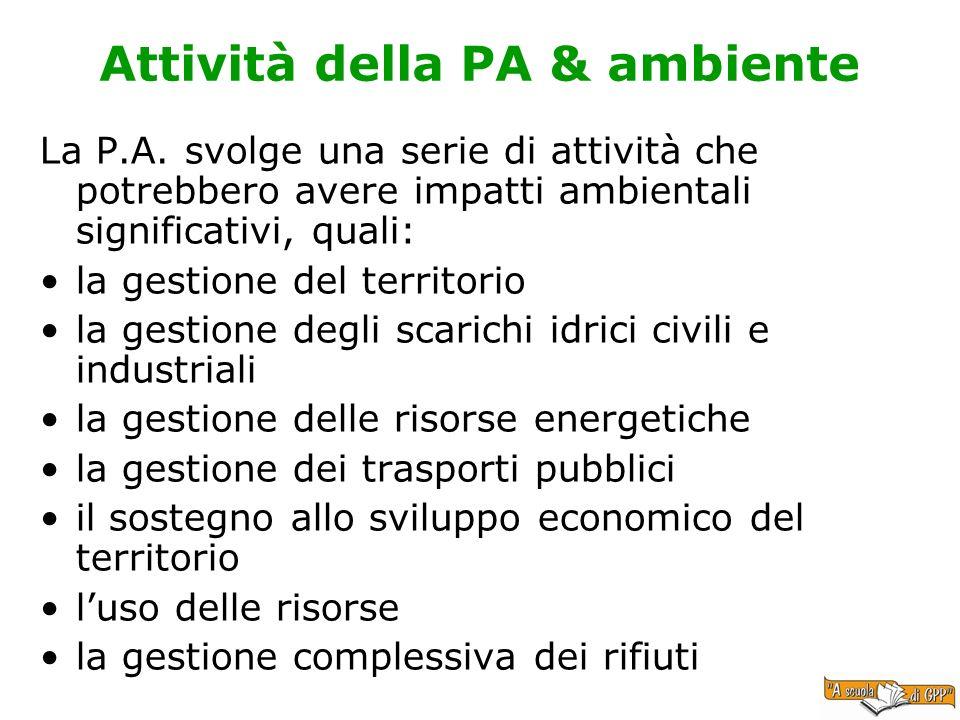 Attività della PA & ambiente La P.A. svolge una serie di attività che potrebbero avere impatti ambientali significativi, quali: la gestione del territ