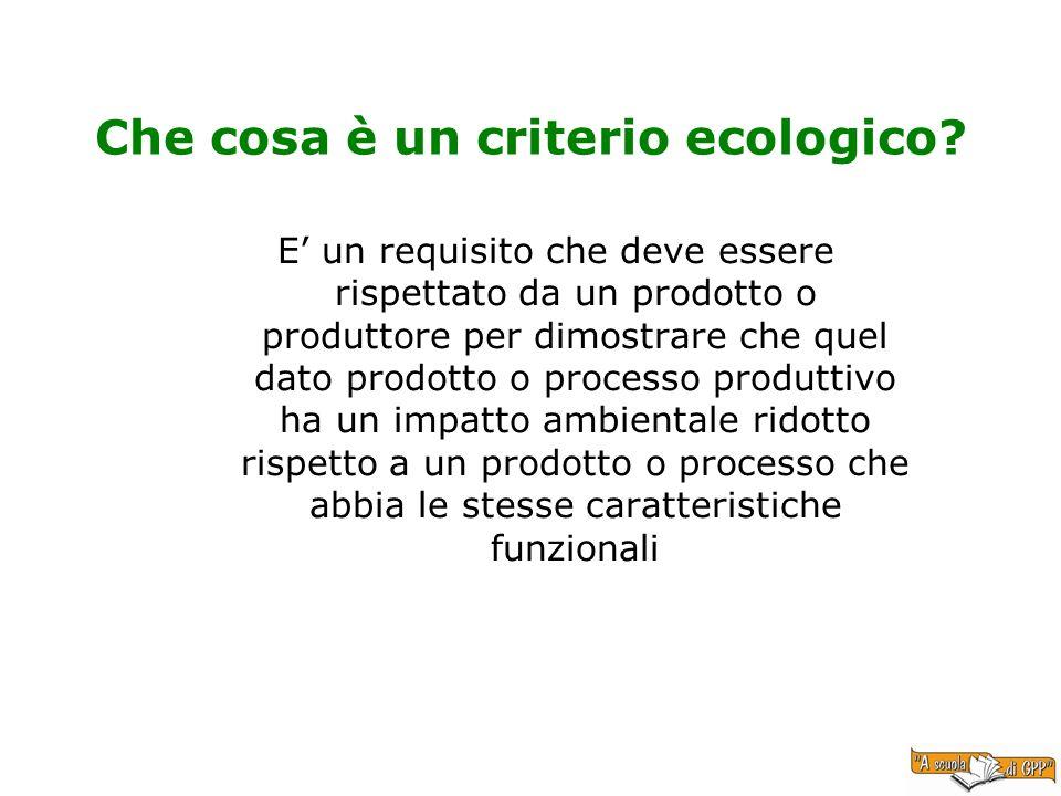 Che cosa è un criterio ecologico? E un requisito che deve essere rispettato da un prodotto o produttore per dimostrare che quel dato prodotto o proces