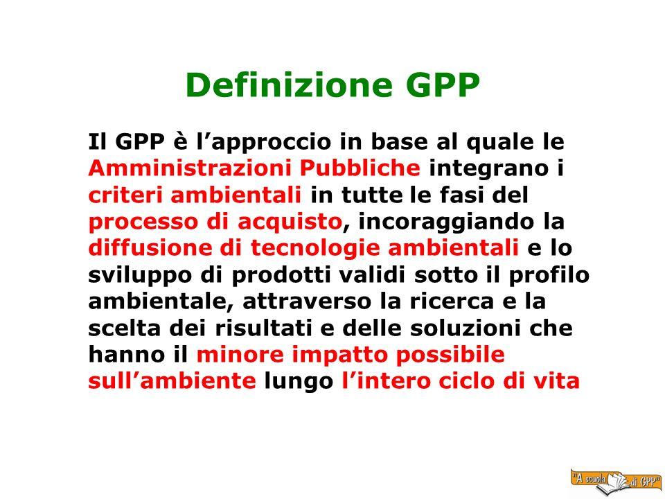 Definizione GPP Il GPP è lapproccio in base al quale le Amministrazioni Pubbliche integrano i criteri ambientali in tutte le fasi del processo di acqu