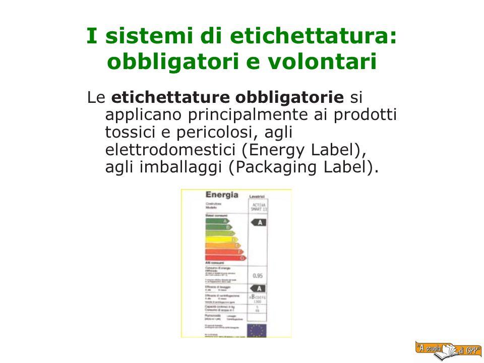 I sistemi di etichettatura: obbligatori e volontari Le etichettature obbligatorie si applicano principalmente ai prodotti tossici e pericolosi, agli e
