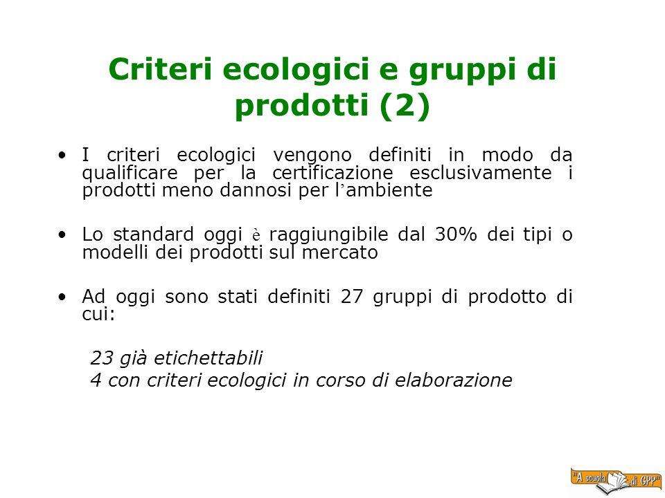 Criteri ecologici e gruppi di prodotti (2) I criteri ecologici vengono definiti in modo da qualificare per la certificazione esclusivamente i prodotti