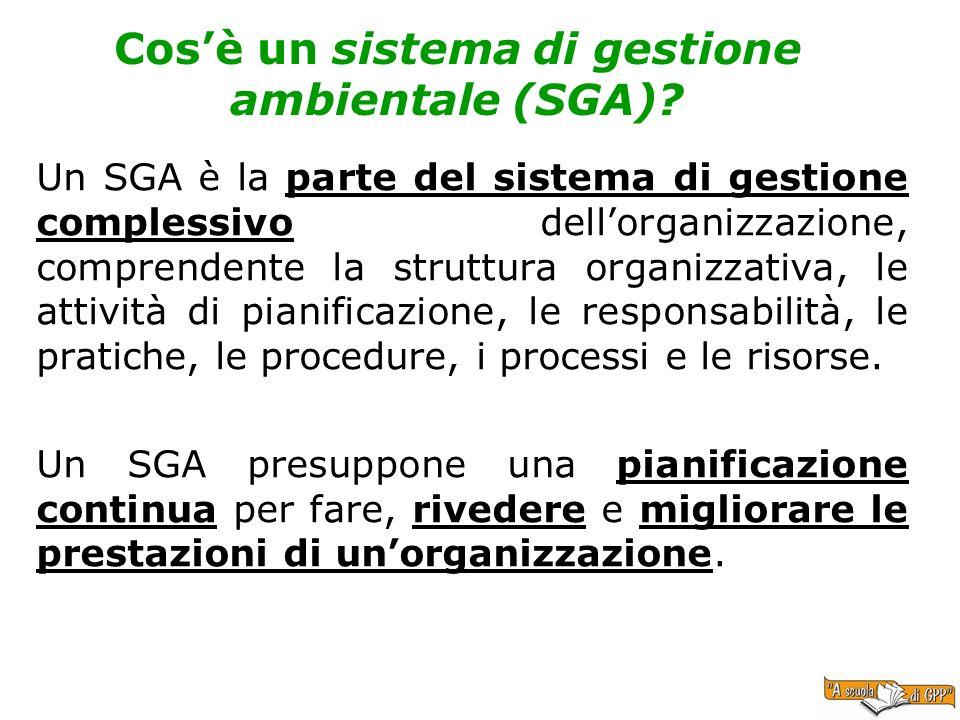 Cosè un sistema di gestione ambientale (SGA)? Un SGA è la parte del sistema di gestione complessivo dellorganizzazione, comprendente la struttura orga
