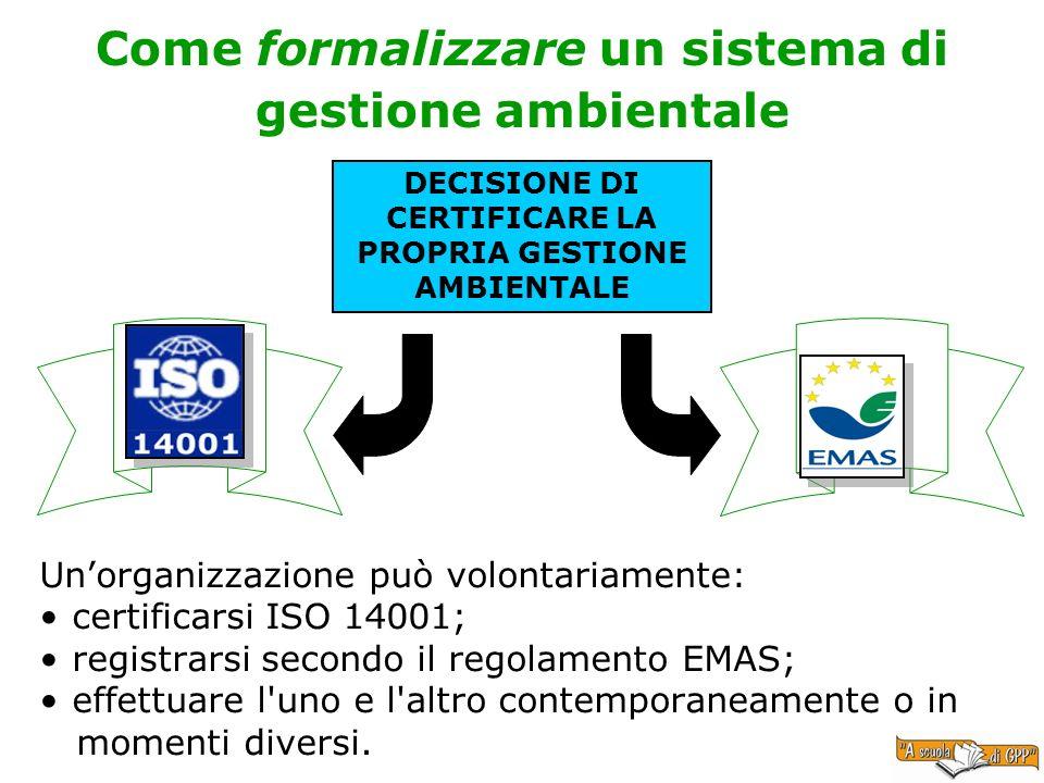 Come formalizzare un sistema di gestione ambientale Unorganizzazione può volontariamente: certificarsi ISO 14001; registrarsi secondo il regolamento E
