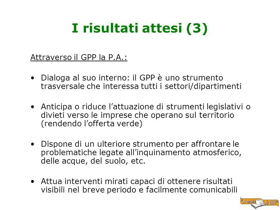 I risultati attesi (3) Attraverso il GPP la P.A.: Dialoga al suo interno: il GPP è uno strumento trasversale che interessa tutti i settori/dipartiment