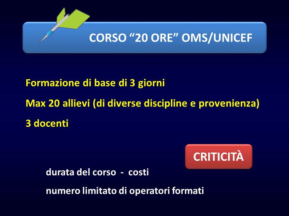 CORSO 20 ORE OMS/UNICEF Formazione di base di 3 giorni Max 20 allievi (di diverse discipline e provenienza) 3 docenti durata del corso - costi numero