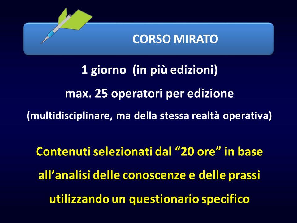 CORSO MIRATO 1 giorno (in più edizioni) max. 25 operatori per edizione (multidisciplinare, ma della stessa realtà operativa) Contenuti selezionati dal