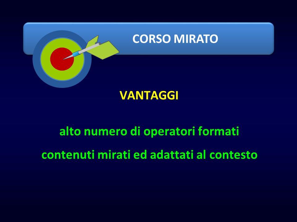 CORSO MIRATO alto numero di operatori formati contenuti mirati ed adattati al contesto VANTAGGI