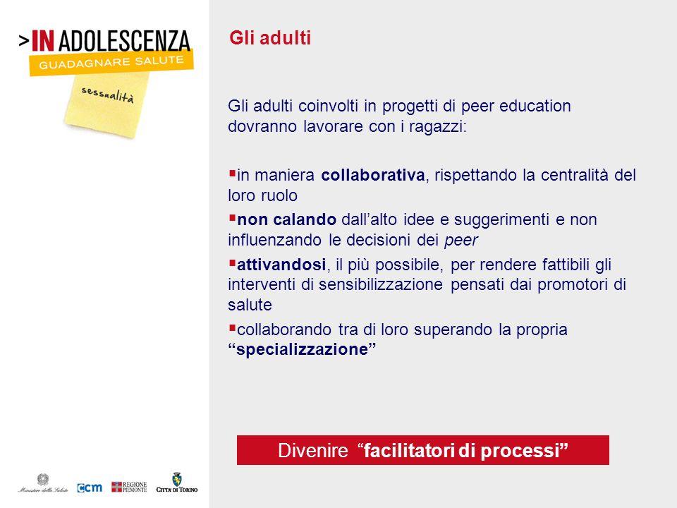 Gli adulti Gli adulti coinvolti in progetti di peer education dovranno lavorare con i ragazzi: in maniera collaborativa, rispettando la centralità del