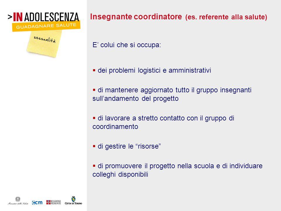 Insegnante coordinatore (es. referente alla salute) E colui che si occupa: dei problemi logistici e amministrativi di mantenere aggiornato tutto il gr