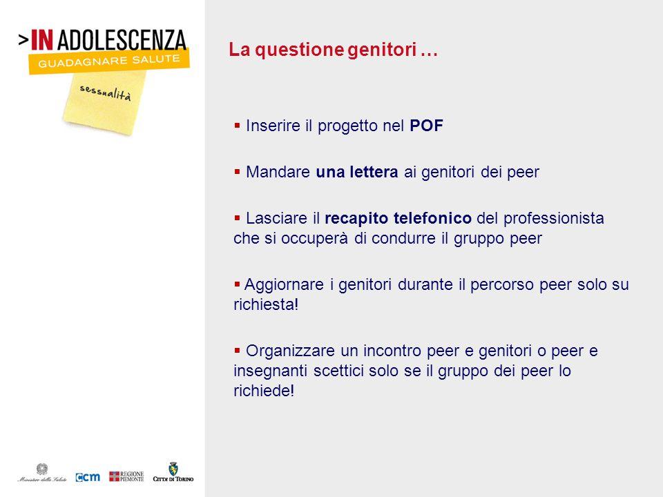 La questione genitori … Inserire il progetto nel POF Mandare una lettera ai genitori dei peer Lasciare il recapito telefonico del professionista che s