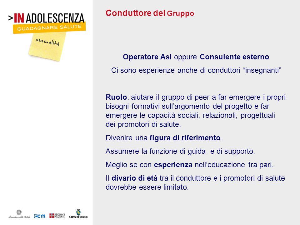 Conduttore del Gruppo Operatore Asl oppure Consulente esterno Ci sono esperienze anche di conduttori insegnanti Ruolo: aiutare il gruppo di peer a far