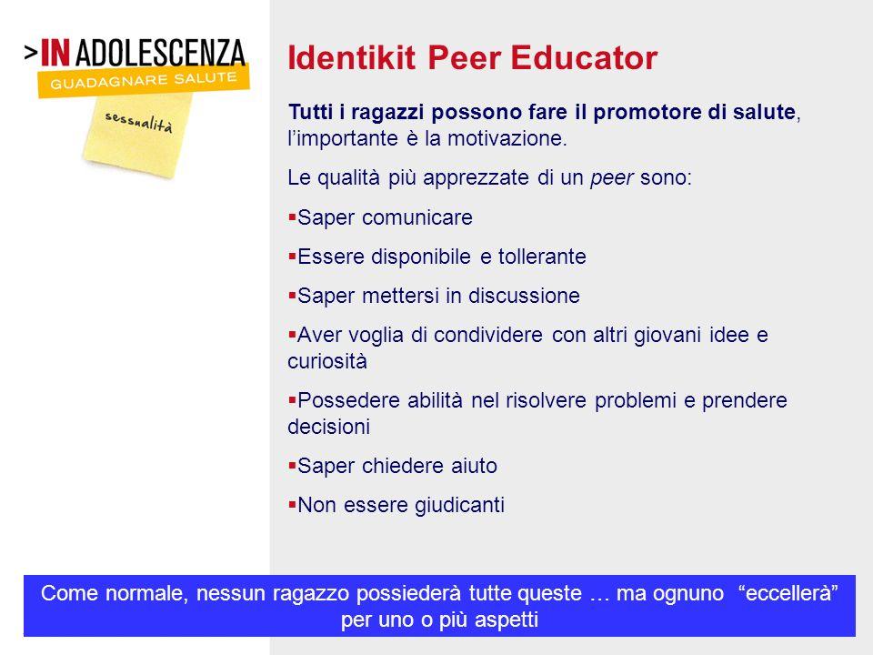 Identikit Peer Educator Tutti i ragazzi possono fare il promotore di salute, limportante è la motivazione. Le qualità più apprezzate di un peer sono: