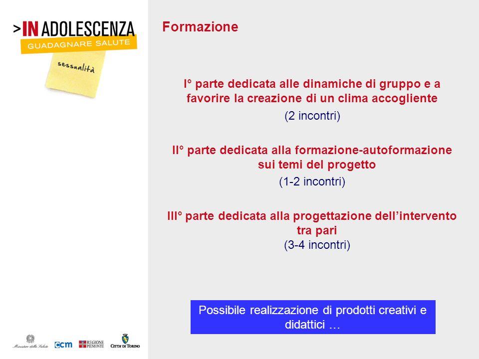 Formazione I° parte dedicata alle dinamiche di gruppo e a favorire la creazione di un clima accogliente (2 incontri) II° parte dedicata alla formazion