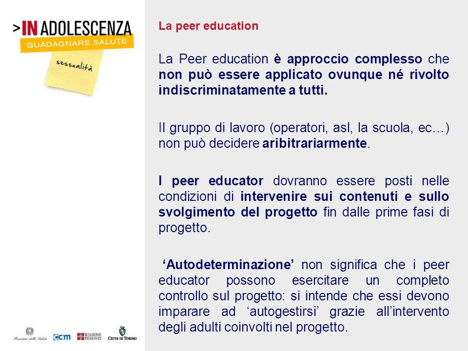 La peer education La Peer education è approccio complesso che non può essere applicato ovunque né rivolto indiscriminatamente a tutti. Il gruppo di la