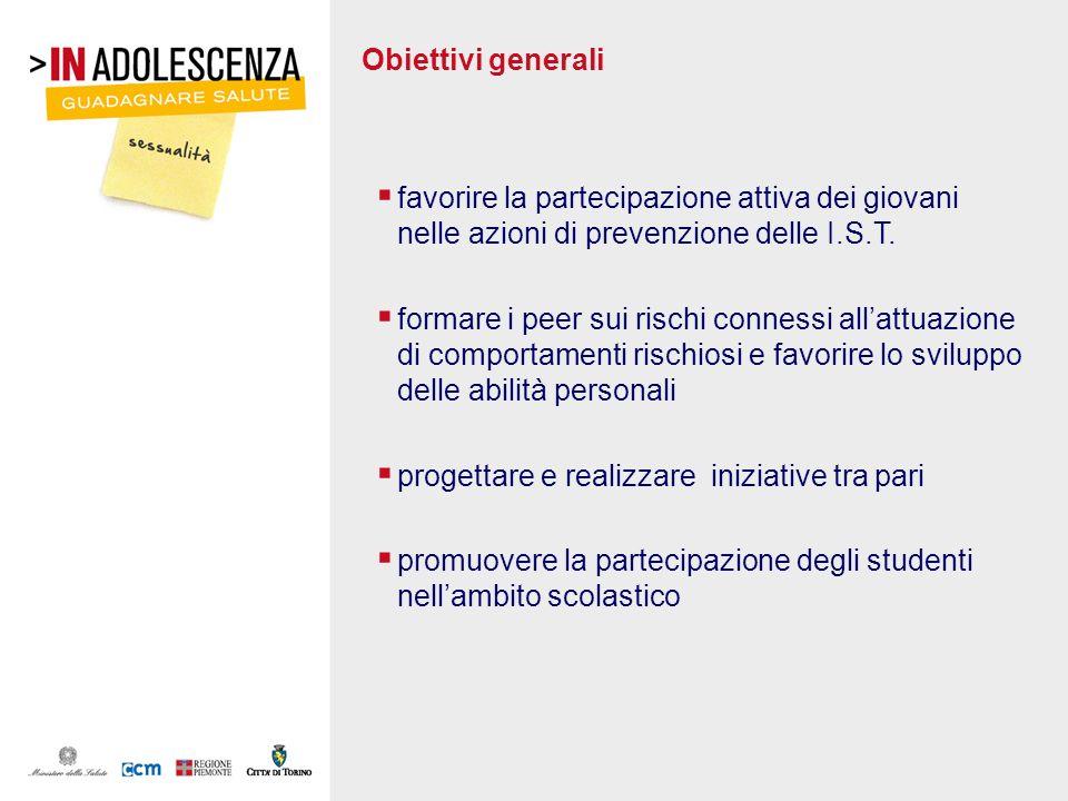 Obiettivi generali favorire la partecipazione attiva dei giovani nelle azioni di prevenzione delle I.S.T. formare i peer sui rischi connessi allattuaz