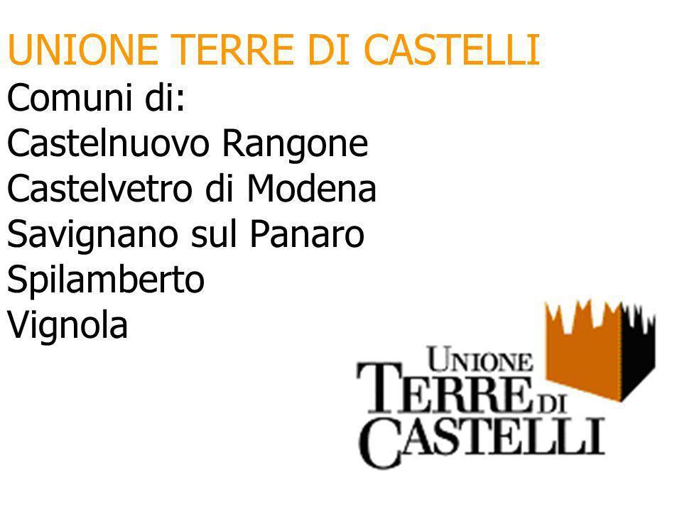 UNIONE TERRE DI CASTELLI Comuni di: Castelnuovo Rangone Castelvetro di Modena Savignano sul Panaro Spilamberto Vignola