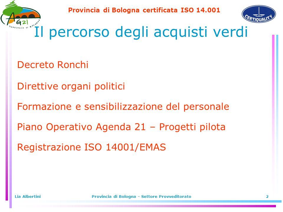 Lia AlbertiniProvincia di Bologna - Settore Provveditorato2 Il percorso degli acquisti verdi Decreto Ronchi Direttive organi politici Formazione e sensibilizzazione del personale Piano Operativo Agenda 21 – Progetti pilota Registrazione ISO 14001/EMAS
