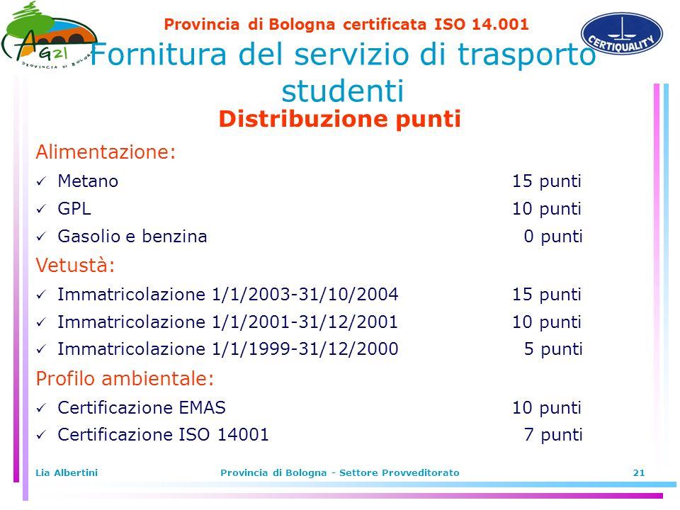 Provincia di Bologna certificata ISO 14.001 Lia AlbertiniProvincia di Bologna - Settore Provveditorato21 Fornitura del servizio di trasporto studenti Distribuzione punti Alimentazione: Metano15 punti GPL10 punti Gasolio e benzina 0 punti Vetustà: Immatricolazione 1/1/2003-31/10/200415 punti Immatricolazione 1/1/2001-31/12/200110 punti Immatricolazione 1/1/1999-31/12/2000 5 punti Profilo ambientale: Certificazione EMAS10 punti Certificazione ISO 14001 7 punti