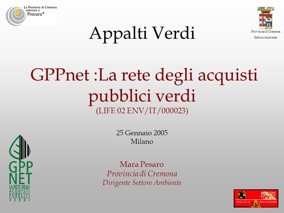 Provincia di Cremona Settore Ambiente Appalti Verdi GPPnet :La rete degli acquisti pubblici verdi (LIFE 02 ENV/IT/000023) 25 Gennaio 2005 Milano Mara