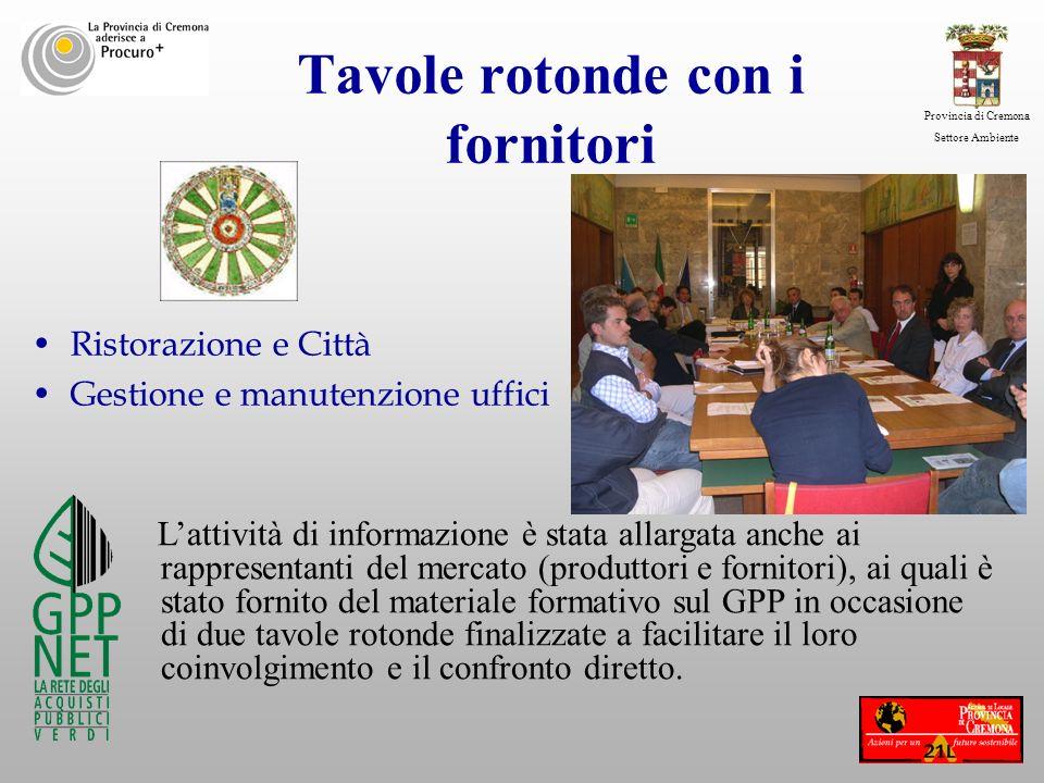 Provincia di Cremona Settore Ambiente Tavole rotonde con i fornitori Ristorazione e Città Gestione e manutenzione uffici Lattività di informazione è s